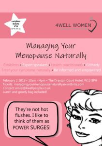 Managing your Menopause Naturally Workshop 2nd February 2019 Ealing