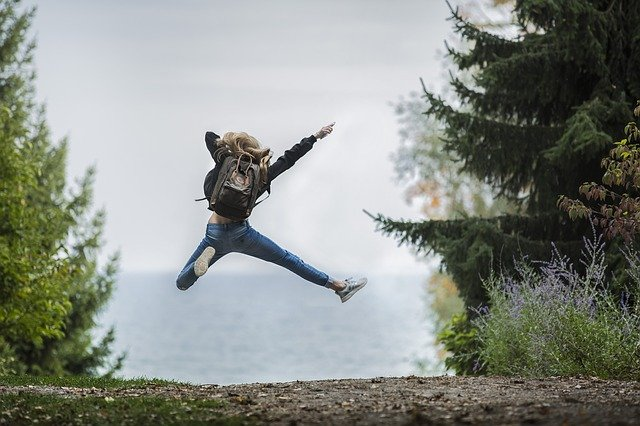 joyful person jumping